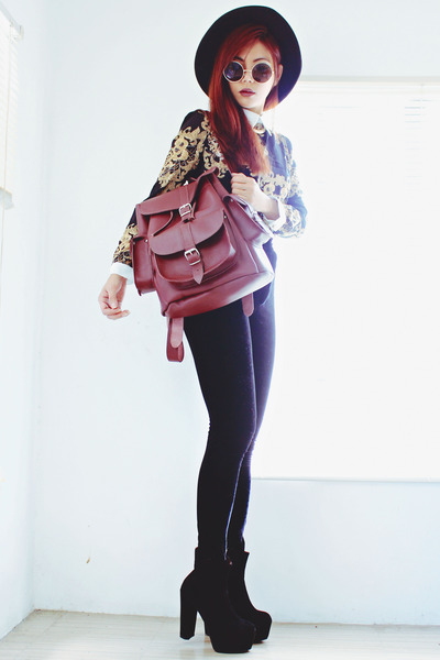 crimson grafeacom bag - black ankle Oasapcom boots - black Oasapcom blouse