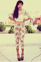 red floral Sheinsidecom blazer - white lace bandeau Romwecom top