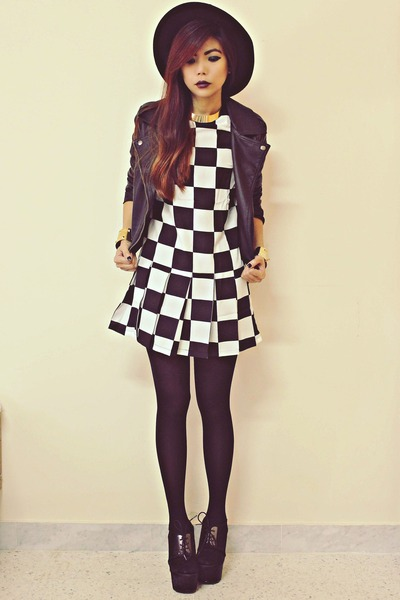 black checkered Sheinsidecom dress