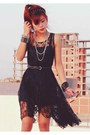 Black-romwe-dress-black-round-romwe-glasses-black-punk-spike-oasap-necklace