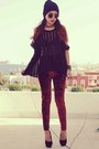 Maroon-local-store-leggings-black-romwe-bracelet