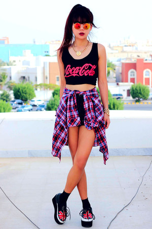 brick red plaid Romwecom shirt - black spike Theeditorsmarketcom shorts