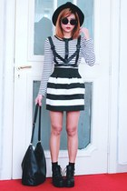 black Romwecom boots - black striped pleated Romwecom skirt