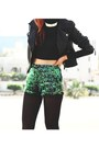 Black-leather-sheinside-jacket-green-motel-rocks-shorts