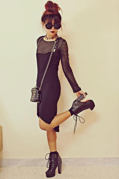 black studded lace up choiescom boots