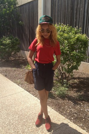red shoes - red Ralph Lauren shirt - blue high waisted shorts