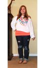 Blue-pac-sun-jeans-white-victorias-secret-sweater-orange-charlotte-russe-top