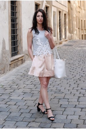 light pink DIY skirt - white Mango bag - heather gray Zara top