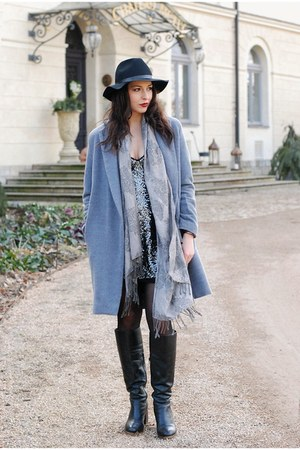 heather gray DIY coat - charcoal gray Zara dress - black hm hat