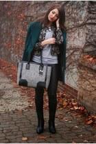 dark green vintage coat - black H&M pants