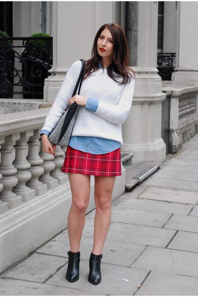 black reserved boots - gray M&S bag - red DIY skirt