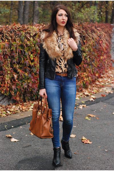 c62853ba7f75 camel Vintae shirt - black Zara jacket - tawny Michael Kors bag