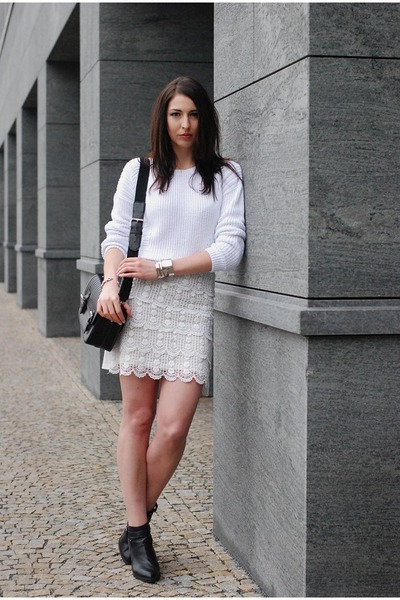 off white DIY skirt - black Zara bag - off white F&F jumper