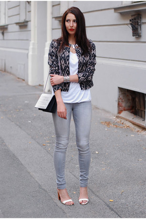 beige H&M jacket - heather gray lindex jeans - white DIY top
