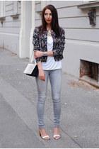 beige H&M jacket - heather gray lindex jeans - white DIY top