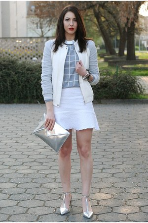 heather gray Zara jacket - white DIY skirt - silver Zara sandals
