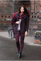 lindex coat - brick red Zara scarf - H&amp pants