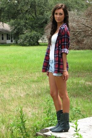 red Urban Outfitters shirt - gray cowboy vintage boots - blue Forever 21 shorts