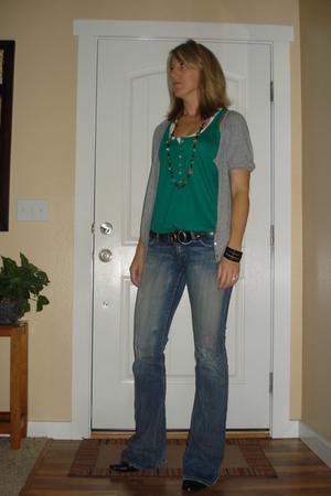 Old Navy shirt - Old Navy shirt - Buckle belt - BKE jeans - Forever 21 bracelet