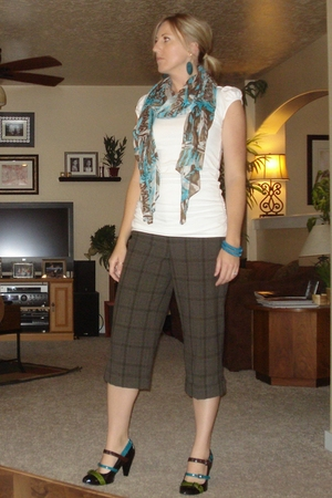 earrings - scarf - Old Navy shirt - Express pants - Old Navy bracelet - naughty