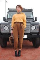 vintage bag bag - knit jumper top - pants - wedges