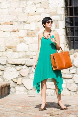 turquoise blue Choies dress - bronze Parfois bag - brown Kitten flats