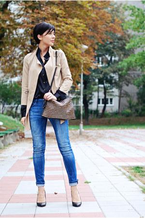 black Tailor4lesscom shirt - black Zara shoes - camel Sheinside coat