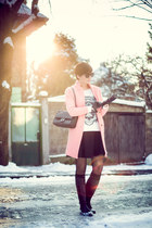 pink Sheinside coat - black US Polo boots - black Waokao bag