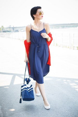 white New Yorker flats - navy lindex dress - red lindex sweater