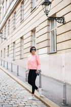 white Pretty Ballerinas shoes - pink COS sweater - black Zara bag