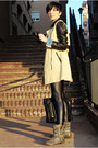 Black-choies-leggings-charcoal-gray-krissbo-boots-camel-choies-coat