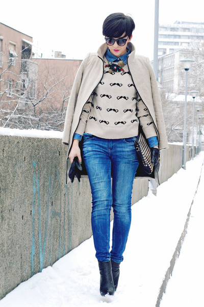 beige AX Paris sweater - black OASAP boots - beige Zara coat - blue Zara jeans