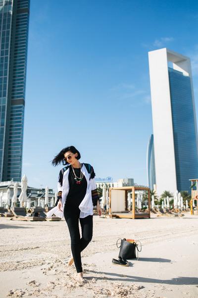 black Parfois bag - white Iskon Mode jacket - black H&M pants