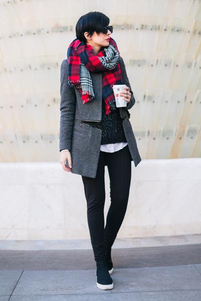 black Zara shoes - charcoal gray By Zoe coat - black Zara sweater