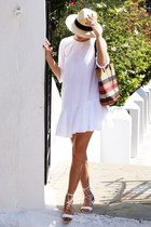 white Zara dress - cream H&M hat - carrot orange Parfois bag