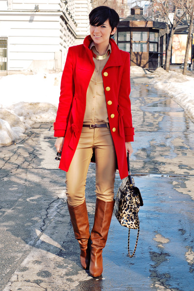 red Tally Weijl coat - tawny Stradivarius boots - camel Bershka shirt