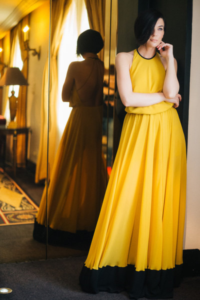 yellow Fashion studio Dressing dress