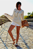 bronze DIY bag - white no brand shorts - cream killah sandals - nude H&M blouse