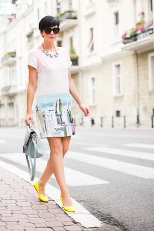 light pink Sheinside dress - light blue OASAP bag - yellow Alter flats