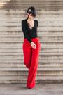 Black-h-m-blouse-red-h-m-pants