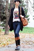black Tommy Hilfiger boots - navy Zara jeans - black Romwecom sweater