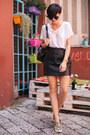 Black-oasap-bag-camel-aldo-flats-black-6ks-skirt-white-zara-t-shirt