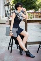 black Terranova boots - black Terranova dress - white Terranova scarf