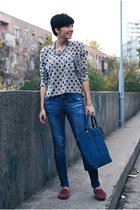 heather gray Club Couture sweater - blue Zara jeans - navy OASAP bag