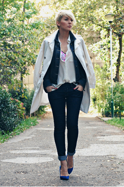 beige Mango coat - navy Sheinside jeans - navy Dorothy Perkins jacket