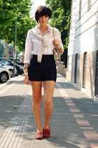 white Stradivarius shirt - off white OASAP bag - navy Zara shorts