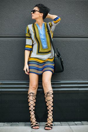 black lindex bag - blue Sheinside dress - black Choies sandals