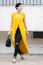 mustard Zara shirt - black Mango jeans - black lindex bag