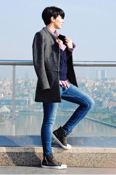 gray By Zoe coat - blue Zara jeans - navy Massimo Dutti sweater - red Zara shirt