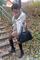 black BN BOOS boots - beige Mango coat - white Calliope sweater